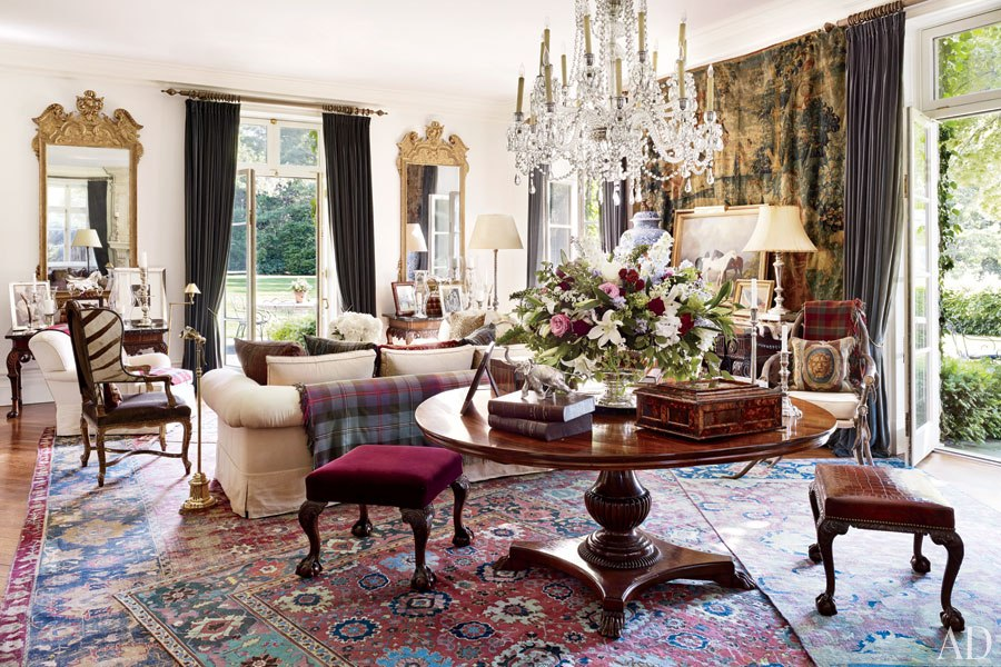 Ralph Lauren's Bedford Living Room, Courtesy Architectural Digest