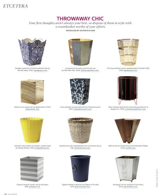 Elle Decor Waste Baskets