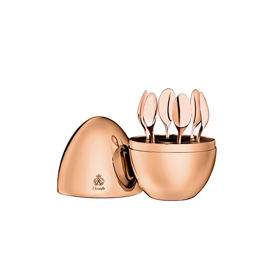 Mood by Christofle Set of Six Silverplated Espresso Spoons (18 Kt Rose Gold)