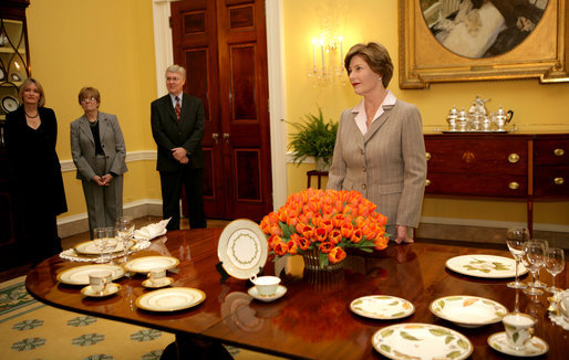 First Lady Laura Bush in the White House with Anna Weatherley Magnolia Dinnerware (courtesy The White House archives)