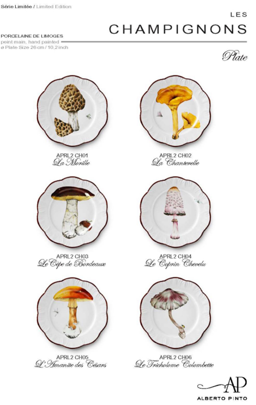 Champignons Handpainted Dinnerware by Raynaud for Alberto Pinto