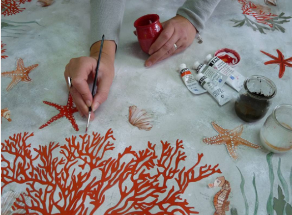 At work on the ever-popular Coral collection