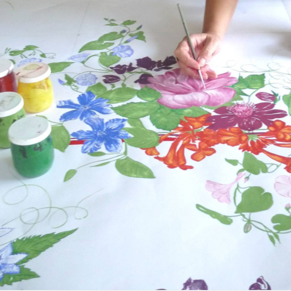 Artists creating a new design for spring