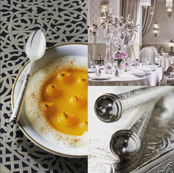 Royal Mansour Marrakech Restaurant featuring Arabesque flatware from Alain Saint-Joanis