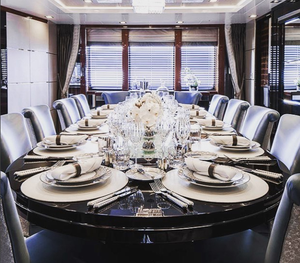 Losange Flatware by Alain Saint-Joanis aboard the M/Y Turquoise