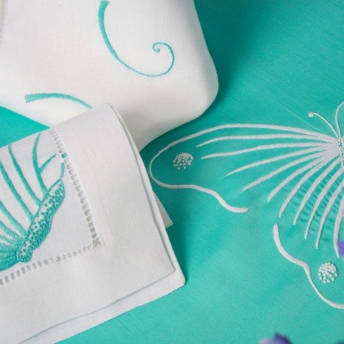 Renaissance Paris Butterflies Aqua Embroidered Table Linens
