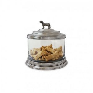 Glass Pewter Cookie Jar with Dog Finial