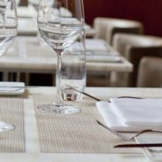 Bamboo placemats in chino and Basketweave placemats in khaki used at Le Bernardin in New York