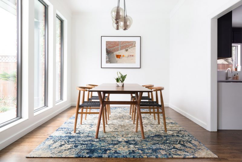Contemporary dining room area rug