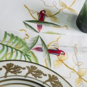 Jungle Embroidered White Table Linens