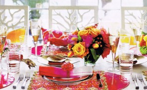 Kim Seybert's Colorful Tabletop for House Beautiful