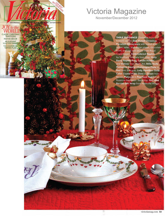 Holiday tables by royal copenhagen gracious style blog for Victoria magazine low country style