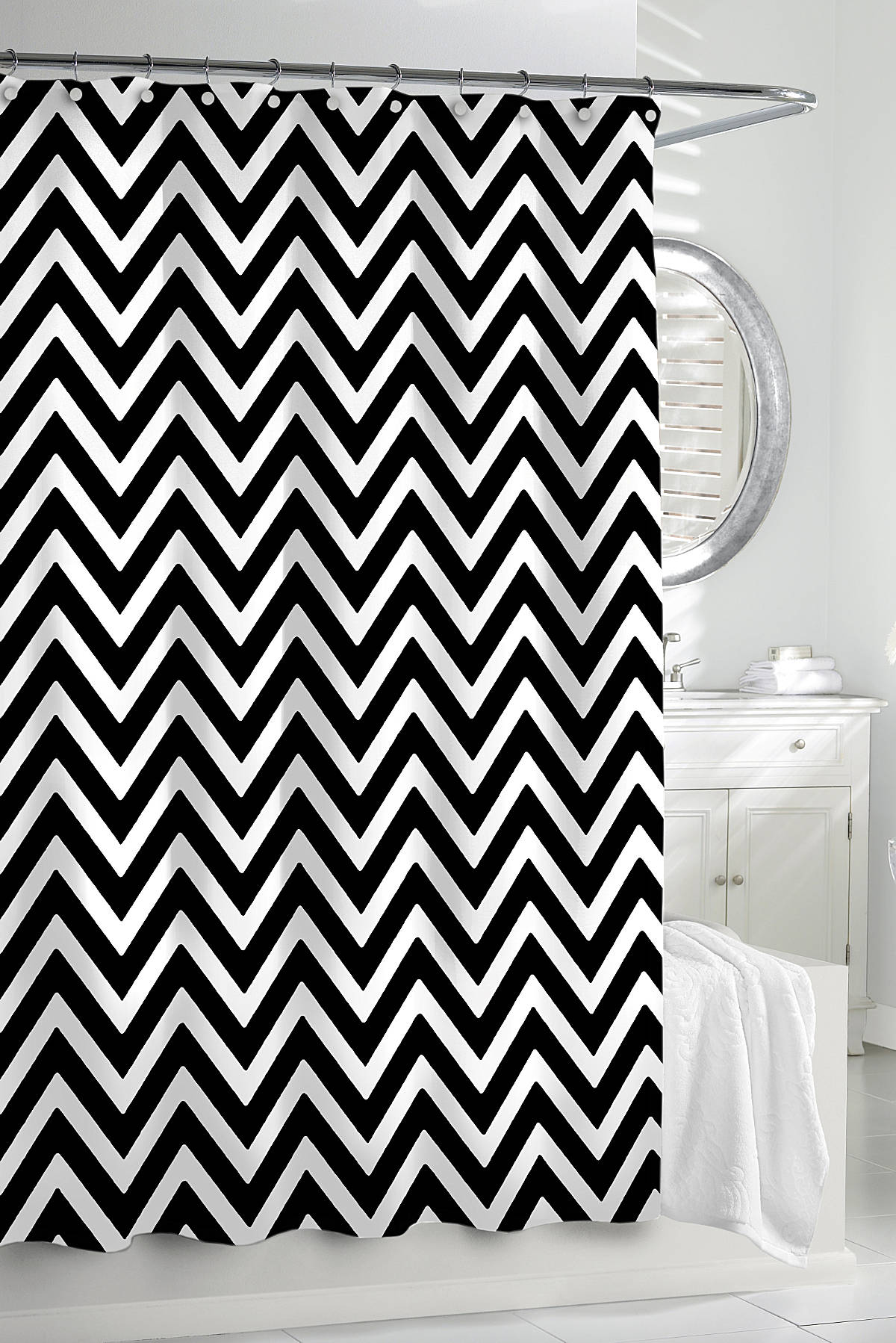 Black and white shower curtain - Black And White Chevron Shower Curtain Grey And White Chevron Shower Curtain Grey And White