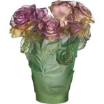 Rose Passion Medium Vase 7 in, Green and Pink