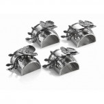 Black Orchid Napkin Ring, Set of 4