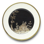 Vieux Kyoto Black Center Dessert Plate 8.25 in Round