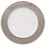 Indienne Carat Plat.White Center Platinum Filet Presentation Plate 11.8 In