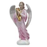Chinese Bqt Garland Raspbry Angel With Harp 2.75