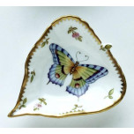 Spring in Budapest Large Purple & Green Butterfly Leaf Ring Dish 5 in