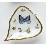 Spring in Budapest Blue Butterfly, Bee, & Ladybug Leaf Ring Dish 5 in