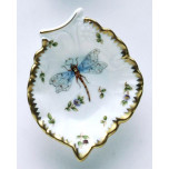 Spring in Budapest Dragonfly & Green Bug Leaf Ring Dish 4.5 in