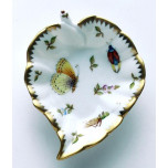 Spring in Budapest Yellow Butterfly, Grasshopper, & Ladybug Leaf Ring Dish 5 in