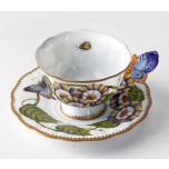 Butterfly Handle Triple Flower Cup & Saucer