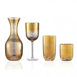 Crackle Glass Gold Stemware | Gracious Style