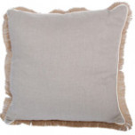 Natural Linen With Eggshell Pipe & Jute Fringe Pillow 24 X 24 In   Gracious Style