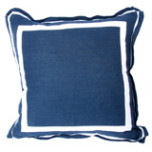 Navy Linen 20 X 20 Pillow With White Twill Tape | Gracious Style