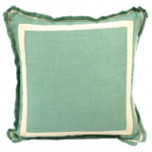 Aqua Linen 20 X 20 Pillow with Natural Twill Tape | Gracious Style