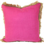 Orchid Linen 24 X 24 Pillow with Mud Pipe and Jute Fringe | Gracious Style