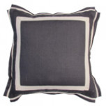 Grey Linen With Natural Twill Tape Pillow 20 X 20 In | Gracious Style
