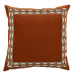 Tangelo Velvet With Amalfi Tangelo Tape Pillow 22 X 22 In   Gracious Style