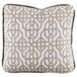Imperial Bisque 24×24 Pillow with Charcoal Velvet Flange and Turkish Corners | Gracious Style