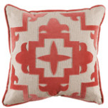 Sultana Applique Coral Velvet On Heavy Basket Pillow 22 X 22 In   Gracious Style