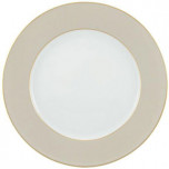 Raynaud Horizon Beige with Gold Filet Buffet Plate 12.25 in Round