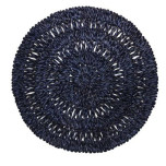 Straw Loop Round Placemat Navy Blue 16