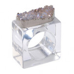 Rock Crystal Napkin Ring, Set of Four - Crystal | Gracious Style