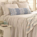 Savannah Linen Chambray Dove Grey Bedspread | Gracious Style