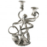 Sea & Shore Octopus 2-arm Candlestick, 8.5 in W X 8 in L X 13.5 in H