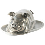 Pig Butter Dish, 3.75 in L x 7.5 in W x 3.5 in H | Gracious Style