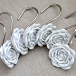 Rose Shower Curtain Hooks w/Liner | Gracious Style