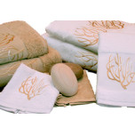 Coral Exotic Absorbent White Ivory Embroidered Towels   Gracious Style