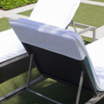 Lounge Chair Covers Velour Stripe with Fitted Hood, White | Gracious Style