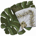 Kim Seybert Green Leaf Beaded Placemat | Gracious Style