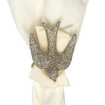 Sparkle Dove Silver Glitter Napkin Ring Set/4 2.5 in L, 3.5 in W