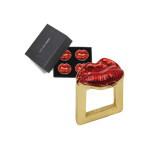 Kisses Set of 4 Red/Gold Napkin Rings | Gracious Style