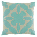 Lacefield Gloria Applique With Seafoam & Peacock Linen Pillow 22x22 In