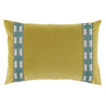 Quince Velvet With Amalfi Glass Tape Lumbar Pillow 13 X 19 In   Gracious Style